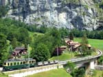 BDhe 4/4 No 107 and Freight Trucks -  Lauterbrunnen