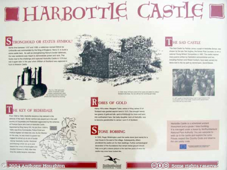 Cheviots,Harbottle Castle,Plaque