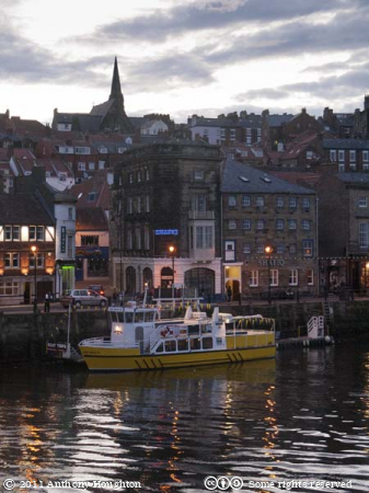 Whitby Harbour,Houses,Boats