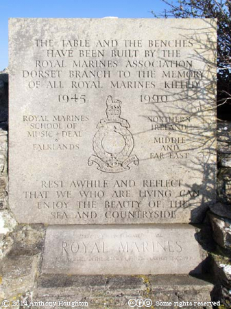 Royal Marines,Table,Benches,Plaque,St Aldhelm's Head,Memorial