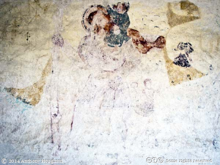 St Christopher,Mermaid,Wall Painting,Whitcombe Church