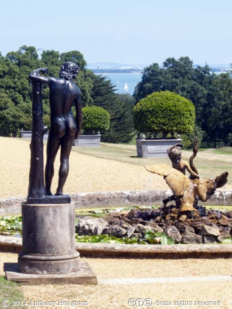 View,Sea,Osborne House,Statues,Fountain,Balustrade