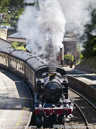 GWR,Prairie Tank,5199,Steam Engine,Train,Llangollen,Railway Station